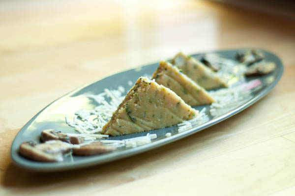 Cheesy Zucchini Polenta Cakes with Mushroom Duxelles