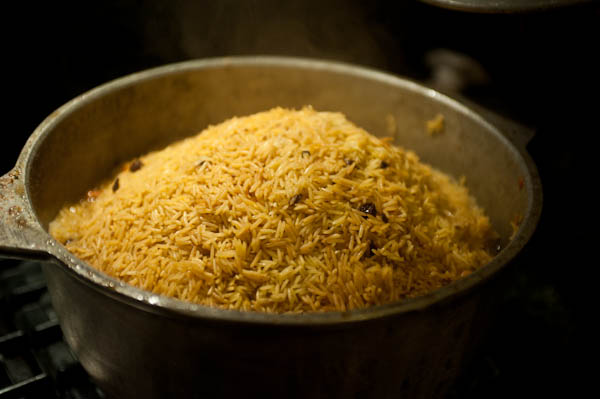 Step by step Plov Making: Rice finished steaming