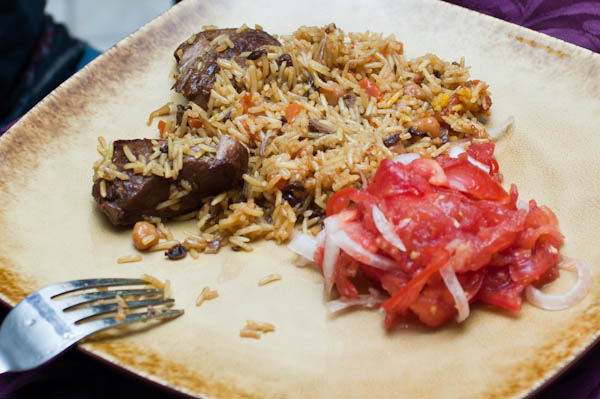 Uzpek Plov, served with Red Tomato Salad