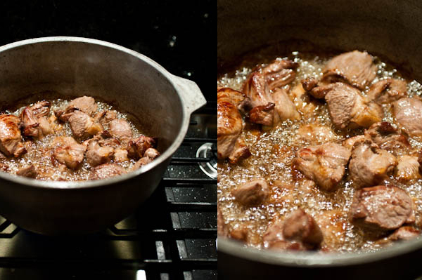 Step by step Plov Making: frying the lamb