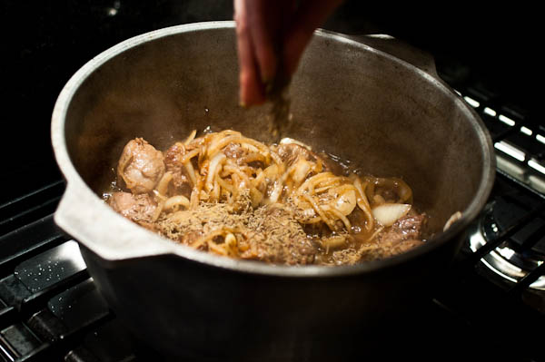 Step by step Plov Making: Adding spices to lamb and onions