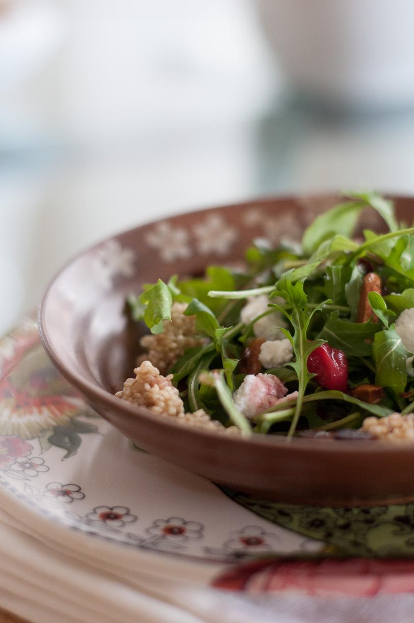 Goat Cheese Cherry Quinoa Salad with Almond and Basil Gremolata